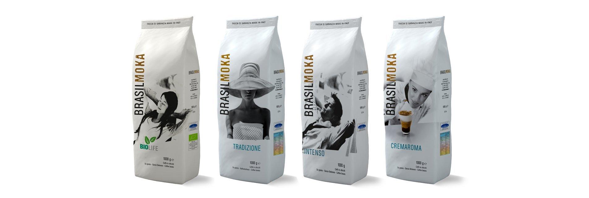 Confezioni del caffè prodotto e distribuito da Brasilmoka